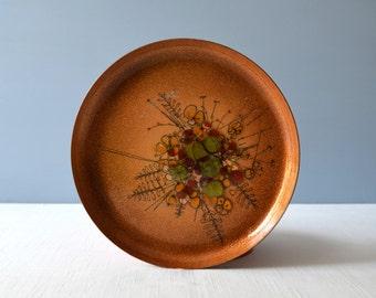 Vintage Hand Decorated Enamel on Copper Plate - Bouquet Design