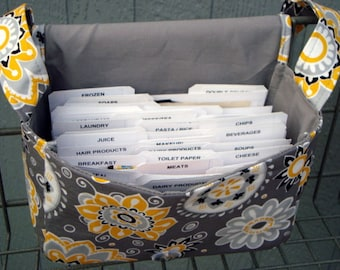 "Large 4"" Size Coupon Organizer Coupon Bag Budget Holder Box Attaches to Your Shopping Cart  Sunshine Floral on Gray - Select Your Size"