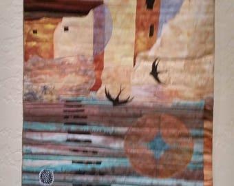Contemporary Southwest Wall Quilt- Ancient Voices- Original art quilt