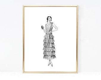Art Deco Flapper Girl Prints, 1920's Fashion Wall Art - Vintage Lady Printable