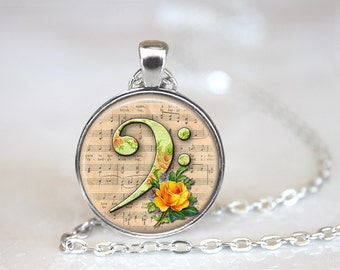 Bass Clef And Roses Glass Pendant, Photo Glass Necklace, Glass Keychain, Glass Jewelry