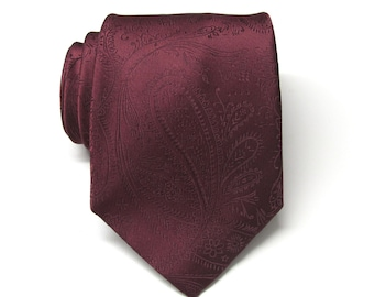 7807d9885fe51 Mens Ties. Wedding Ties. Burgundy Paisley Silk Necktie With Matching Pocket  Square Option