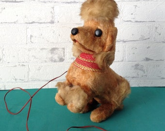 Vintage Little Fi-Fi poodle toy with yelp sound, real rabbit fur, very much loved and shabby, made in Japan