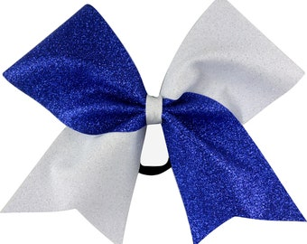 Sideline Tick Tock Royal Blue and White Glitter Cheer Bow