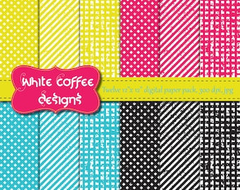 Neon Digital Paper, Grunge, Geometric in bright yellow, hot pink, turquoise and black, background, decor paper for card making