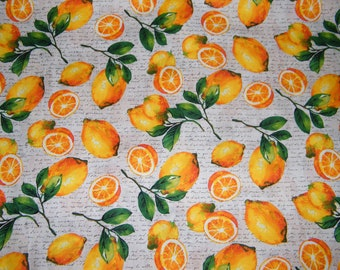 BTY LEMONS on Cream Script Print 100% Cotton Quilt Craft Fabric by the Yard