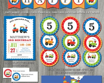 Train Birthday Party Pack, Self Editabe, INSTANT DOWNLOAD, Train Printable Template, Choo Choo Train Invitation, PDF Files, Decoration