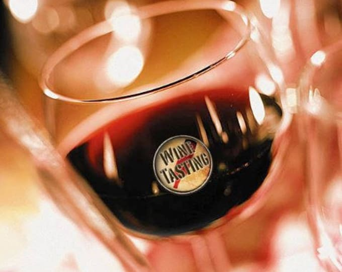 Wine Glass Decals - Pour It, Swirl It, Drink It -  1 Inch Round Reusable Glass Tags, Glass Not included, 12 Per Pack