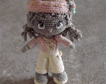 Bonnie's OOAk Crochet Cotton Thread  Item Brown Haired mini Doll /Collectible not a toy