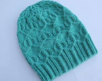Emerald Green Cabled Slouchy Hat, Knit Alpaca Hat, Knit Slouchy Hat, Knit Women Hat, Cabled Hat for Girl.