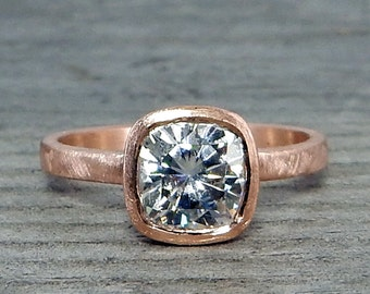 Square Cushion Moissanite Ring in Recycled 14k Rose Gold - Forever One G-H-I - Alternative Engagement Ring, Eco-Friendly, Made to Order