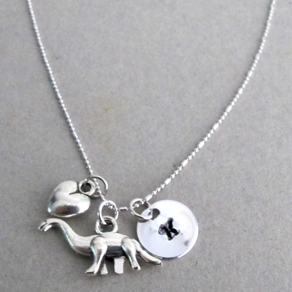 Dinosaur Necklace Personalized Dinosaur Necklace  Hand stamped Name Necklace Teen Girl Gift Dinosaur Lover Necklace Free Shipping In USA