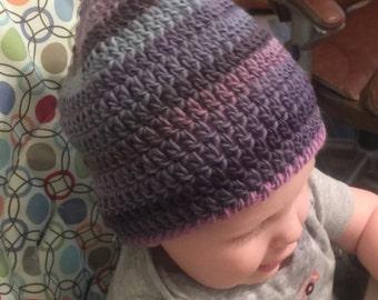 Crocheted Colorful Hat Striped Winter Wool Men Women Girl Boy  Children Baby Hat Beanie Unique All Sizes Newborn to Adult Avalon