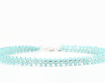 Blue Ankle Bracelet - Beaded Chain Anklet - Beadwork Jewelry - Summer Beach Anklet - Seed Bead Foot Jewelry