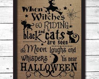 halloween decor, Halloween sign, Halloween wall art, Halloween witch, burlap print, Halloween wall art, Halloween print, Halloween, HW1