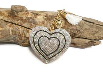 Keychain heart & white Pompom