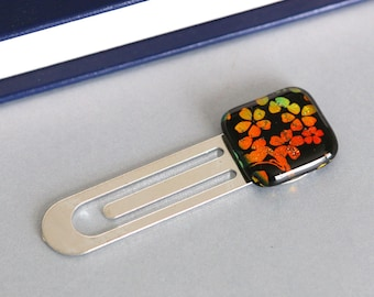 Orange Flowers Blue Book Mark Dichoric Glass, Gift, Book, Book Accessories