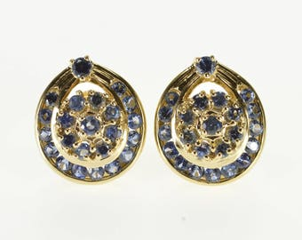 10k Cornflower Sapphire* Encrusted Orntate Post Back Earrings Gold