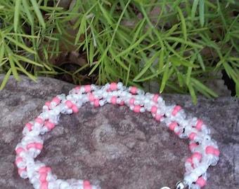 White & Peach Spiral Beaded Bracelet