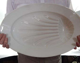 Magnificent French Antique Porcelain Platter Large Old-Fashioned, Heavy with Gravy Well c.1890/1910