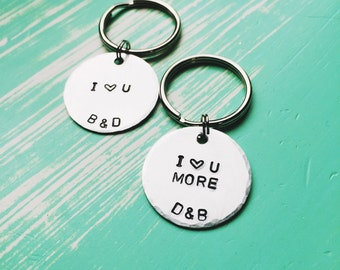 """Personalized keychain set """"I Love You More"""""""