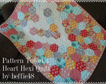 Heart Hexagon Quilt Pattern Tutorial pdf. Use a Jelly Roll, Easy to Make, Includes Photos
