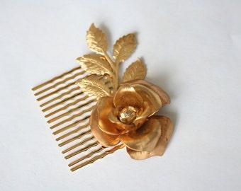 Flora - gold flower hair comb - #1002