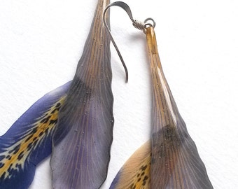 Botanical earrings with dried Iris petals.