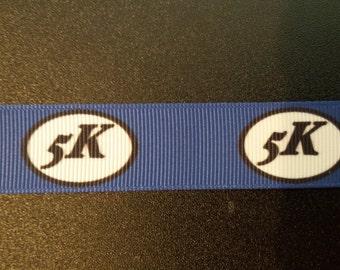 """7/8"""" Royal Blue 5K Marathon Grosgrain Ribbon"""