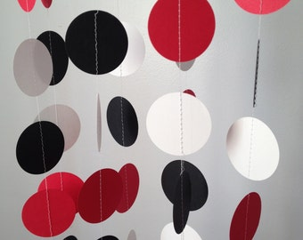 Red, Black, White 12 ft Circle Paper Garland- Party Decorations, Birthday, Wedding, Bridal Shower, Baby Shower