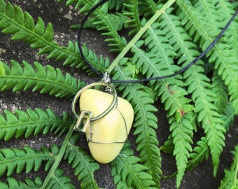 yellow serpentine crystal wire wrapped necklace