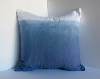 Dip-dyed Canvas Pillow Cover -- Blue-green