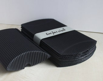 Set of 30, Black Strip Pillow Boxes, Favor, Gift, Party