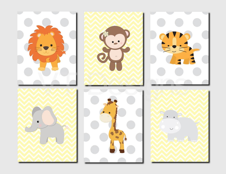 Jungle Animals Nursery Wall Art Monkey Lion Tiger