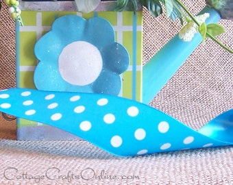 """Polka Dot Ribbon, 1 1/2""""  wide, Turquoise with White Polka Dots - THREE YARDS - Offray """"Eloise"""" Blue NON wired Spring, Easter, Summer Ribbon"""