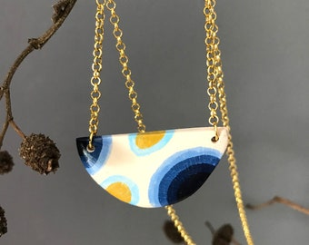 Geometric spot necklace, clay spotty necklace, dot pendant, blue and mustard necklace, adjustable pendant, modern necklace, hand painted