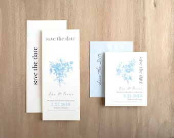 "Save the Dates with Pale Blue Romantic Florals, Unique Save the Date Cards - ""Elegant Blue"" Save the Dates"
