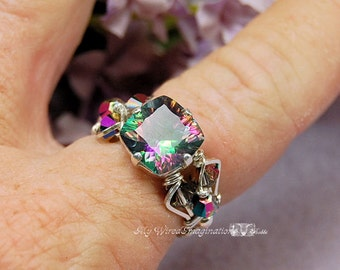 LAST ONE Mystic Topaz, Rainbow Topaz, STARBURST Cut, Hand Crafted Wire Wrapped Ring, Orignial Design Ring, November Birthstone Fine Jewelry