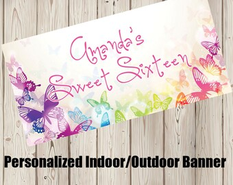 """18""""x36"""" Butterfly Kisses Personalized Party Banner 