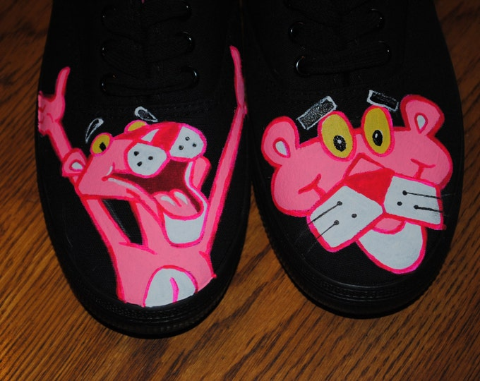 For Sale just finished painting New Pink Panther womens sneaker size 8 ready to ship