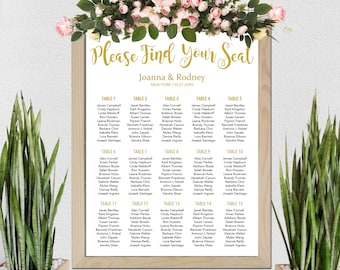 Wedding Seating Chart Template, Table Seating Chart, Printable Seating Plan, Calligraphy Seating Plan, Calligraphy Seating, Instant Download