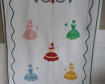 Unusual Vintage Southern Belle Quilt Unused and Unwashed