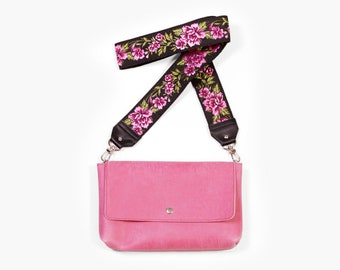 "Minimalist Bag, Small Crossbody ""Zelda Rose"", Pink Leather Crossbody, Leather Crossbody Purse"
