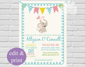 Elephant Baby Shower Invitation | baby Shower invite, Elephant Invitation, Elephant Shower, Baby Elephant, little Peanut  INSTANT DOWNLOAD
