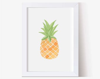 Watercolor Painting, Pineapple Art, Watercolor Picture Pineapple, Pineapple Print, Pineapple Decor, Pineapple Pictures, Hand Painted (5x7+)
