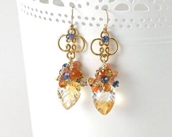 Carved Citrine earrings - Carnelian, Kyanite, Spessartite, Beer Quartz, Citrine bead dangle earrings in Gold, November birthstone Jewelry