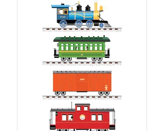 Train Print Art for Boys Room 11 x 14 - Digital Download