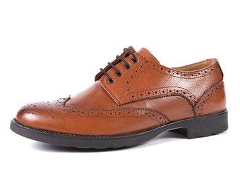 Aspele Mens Tan Leather Brogues shoes
