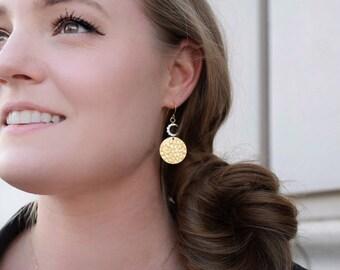 Gold moon earrings celestial gold earrings pave moon charm earrings celestial moon earrings moon goddess jewelry half moon earrings