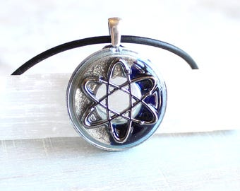 atom necklace, science jewelry, chemistry necklace, scientist necklace, atom symbol, physics jewelry, unique gift, atomic whirl